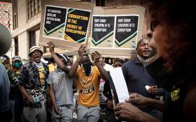 ANC members from the Free State marched to Luthuli House in Johannesburg on 19 October 2020. The members, many of whom are beneficiaries of the failed Estina Dairy Farm project, said they wanted corrupt people in the ANC to be held accountable for the rife corruption in the province. Picture: Xanderleigh Dookey/EWN