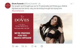 A social media post on Sbahle Mpisane by Doves Funerals. Picture: @Doves_Funerals/Twitter.