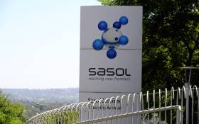A file picture shows the logo of Sasol at its headquarters in Johannesburg. Picture: AFP