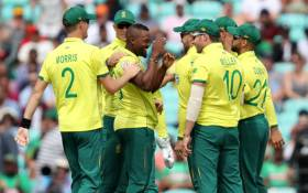 Members of the Proteas celebrate after their win over Sri Lanka on 28 June 2019 in Durham.  Picture: @OfficialCSA/Twitter