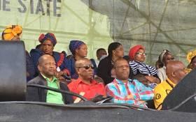 EFF leader Julius Malema (C) at the five years commemoration of the Marikana massacre. Picture:  Gia Nicolaides/EWN.