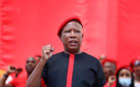 EFF leader Julius Malema on stage at the party's manifesto launch on 26 September 2021. Picture: @EFFSouthAfrica/Twitter.