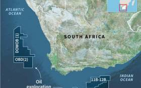 A map of South Africa, locating offshore oil exploration blocks. Petroleum giant Total announced on Thursday it made a massive gas-condensate discovery in the Outeniqua basin. Picture: AFP