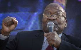 Former president Jacob Zuma addressing his supporters outside the state capture commission on 19 July 2019. Picture: Abigail Javier/EWN
