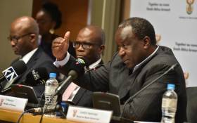 Finance Minister Tito Mboweni at a media briefing after delivering the Medium-Term Budget Policy Statement in Parliament on 30 October 2019. Picture: @TreasuryRSA/Twitter