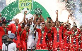TS Galaxy celebrate their Nedbank Cup final victory over Kaizer Chiefs on 18 May 2019. Picture: Twitter