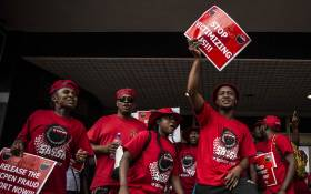 NEHAWU workers protest outside one of the SASSA offices in Johannesburg on October 10 2018. The strike was against SASSA's biometric system for beneficiaries. Picture: Abigail Javier/EWN