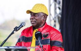 President Cyril Ramaphosa at a Cosatu rally. Picture: @MYANC/Twitter.