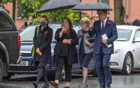 Pat Hume (2R) and her son John (R) attend the funeral of her late husband John Hume at St Eugene's Cathedral in Derry (Londonderry) in Northern Ireland, on 5 August 2020. Picture: AFP