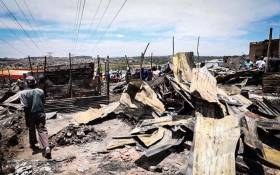 The community of Alexandra rebuilding their homes after a fire destroyed over 500 houses. Picture: Abigail Javier/EWN