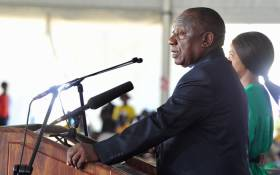 President Cyril Ramaphosa addresses crowds on 21 March 2019 at the 25th commemoration of Human Rights Day in Sharpeville. Picture: @PresidencyZA/Twitter