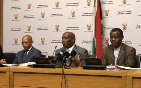 Agriculture Minister Senzeni Zokwana (centre) addressing the media in Cape Town on 2 August. Picture: @SAgovnews/Twitter