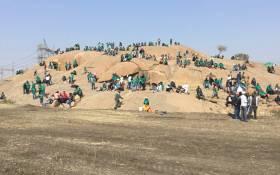FILE: Miners sit at the 'koppie' in Marikana ahead of a programme to commemorate the Marikana massacre, on 16 August 2018. Picture: Pelane Phakgadi/EWN