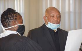 Moeketsi Majoro (right) is sworn in as Lesotho prime minister at the Royal Palace in Maseru on 20 May 2020. Picture: AFP
