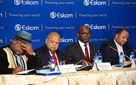FILE: Eskom board chairperson Jabu Mabuza, Minister Pravin Gordhan, Eskom CEO Phakamani Hadebe and CFO brief the media on 23 July 2018. Picture: Kayleen Morgan/EWN