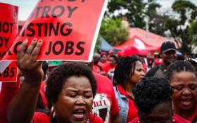 Cosatu begins its march against job losses at Mary Fitzgerald Square in Johannesburg on 13 February 2019 with protest songs and dancing. Picture: Thomas Holder/EWN
