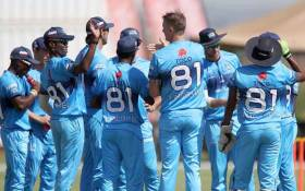 Titans players celebrate a wicket. Picture: @Titans_Cricket/Twitter.