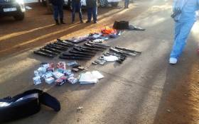Several firearms were seized during a hostage incident at the International Pentecost Holiness Church in Zuurbekom on 11 July 2020. Picture: SAPS.