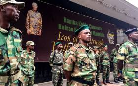 FILE: MKMVA members guard the ANC's Luthuli House headquarters in Johannesburg. Picture: Clement Manyathela/Eyewitness News
