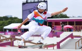 Japan's Momiji Nishiya became one of the youngest individual Olympic champions in history. Picture: @Olympics/Twitter.