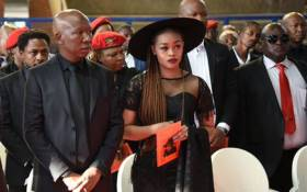 FILE: EFF leader Julius Malema (left) and his wife Mantwa Matlala-Malema (right) at his grandmother's funeral on 11 May 2019. Picture: @EFFSouthAfrica/Twitter