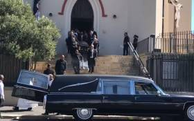 Pete Mihalik's coffin being carried out of St Mary's church in Cape Town. Picture: Monique Mortlock/EWN.