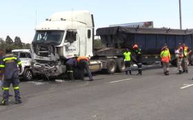 A battered truck on the N12 after a massive accident involving an 18 wheel articulated tipper truck and 49 cars. Picture: Vumani Mkhize/EWN