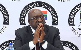 FILE: A video screengrab shows Finance Minister Nhlanhla Nene giving testimony at the state capture commission of inquiry on 3 October 2018. Picture: SABC Digital News/youtube.com.