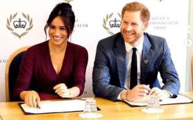 Prince Harry and Meghan Markle at a round table discussion on gender equity with OYW and Queen's Commonwealth Trust young leaders in October 2019. Picture: Instagram/sussexroyal
