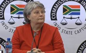 A video screengrab of Barbara Hogan appearing at the Zondo Commission of Inquiry into state capture on 10 October 2018.