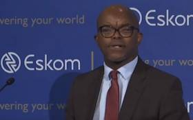 Eskom CEO Phakamani Hadebe briefs the media at the power utility's head office in Megawatt Park in Sunninghill. Picture: Youtube screengrab.