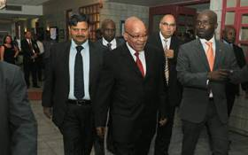 FILE: Former President Jacob Zuma (centre) seen with Atul Gupta (left) and former Home Affairs Minister Malusi Gigaba (right). Picture: GCIS