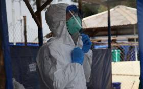 A healthcare worker in the Democratic Republic of Congo at a Ebola treatment facility. Picture: @WHOAFRO/Twitter.