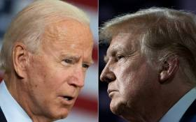 This combination of file pictures created on 28 September 2020 shows Democratic presidential candidate Joe Biden(L) speaking in Tampa, Florida, on 15 September 2020 and US President Donald Trump speaking during an event for black supporters at the Cobb Galleria Centre on 25 September 2020, in Atlanta, Georgia. Picture: AFP