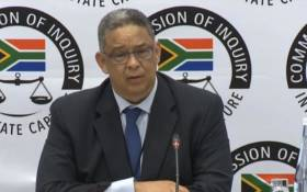 A screengrab of Robert McBride giving testimony at the state capture commission on 11 April 2019.