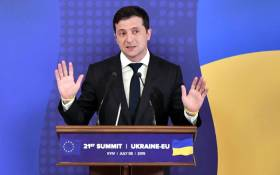 Ukrainian President Volodymyr Zelensky gestures as he speaks during a press conference on the outcome of the Ukraine-EU summit in Kiev on 8 July, 2019. Picture: AFP.