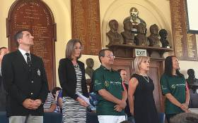 Yolande Korkie and her family and members of the Gift of Givers Foundation at the launch of her book '558 Days' at Grey College in Bloemfontein on 22 February 2016. Picture: Reinart Toerien/EWN