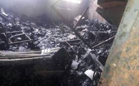 Shondoni Secondary School has become the latest building to be burnt with at least 30 others gutted during protests in Vuwani in 2016. Picture: SAPS