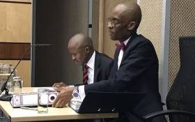 Sars group executive Luther Lebelo (left) with Advocate Thabiso Machaba (right) at the Nugent commission of inquiry on 22 October 2018. Picture: Barry Bateman/EWN