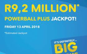 The estimated jackpot for the Powerball Plus draw on 13 April 2018. Picture: @sa_lottery/Twitter