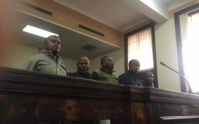 Five policemen arrested for trying to re-sell counterfeit goods seized during the Joburg CBD raids appearing before the Johannesburg Magistrates Court on 19 August 2019. Picture: Edwin Ntshidi/EWN.