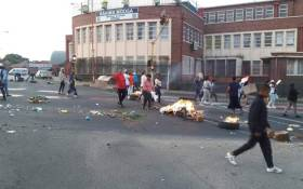 Protest action in Newclare, Johannesburg on Fuel Road near the Rahima Moosa Mother and Child Hospital. Picture: Via @EWNTraffic/Twitter
