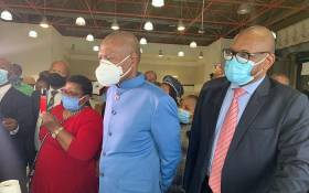 Health Minister Zweli Mkhize (L) joined by Premier David Makhura (R) and Health MEC Nomathemba Mokgethi on site inspections ahead of the phase two vaccination programme in Gauteng on 8 April 2021. Picture: Zweli Mkhize/ Twitter