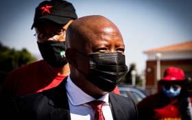 EFF leader Julius Malema outside the Randburg Magistrates Court on Thursday, 29 October 2020. Picture: Xanderleigh Dookey/EWN