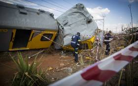 Two carriages, crushed in the impact when two commuter Metro Rail trains collided outside Tembisa. Picture: Thomas Holder/EWN