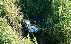 Serious helicopter crash on the Umgeni River near the Inanda Road Bridge in Springfield, Durban. Picture: Arrive Alive/Twitter