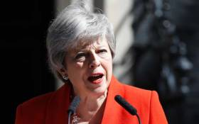 Britain's Prime Minister Theresa May announces her resignation outside 10 Downing Street in central London on 24 May 2019. Picture: AFP.