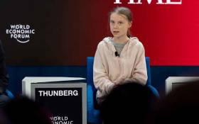 Climate and environmental activist Greta Thunberg speaking in the Forging a Sustainable Path towards a Common Future session at the World Economic Forum Annual Meeting 2020 in Davos-Klosters on 21 January. Picture: World Economic Forum/Sandra Blaser