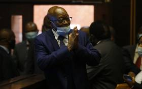 Former South African president Jacob Zuma who is facing fraud and corruption charges greets supporters in the gallery of the High Court in Pietermaritzburg, South Africa, on 17 May 2021. Picture: Rogan Ward/AFP