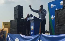 Democratic Alliance leader Mmusi Maimane addressing the crowd at the DA's election manifesto in Midvaal. Picture: Masa Kekana/EWN.